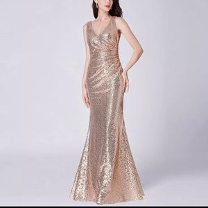 Gold sequined mermaid evening gown